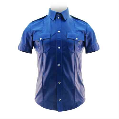 Leder Polizei Shirt in Blau
