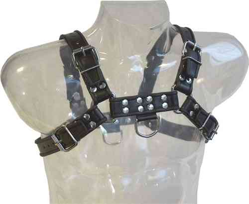 Leather Chest Harness Saddle Leather Black