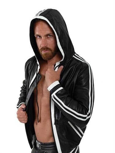 Mister B Leather Hoodie White Stripes