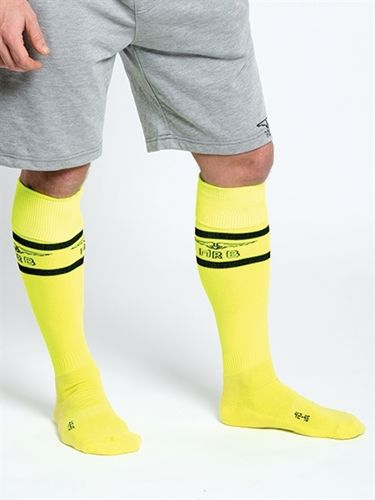 Mister B URBAN Football Socks with Pocket Neon Yellow
